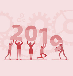 happy new year 2019 text hold by team red vector image