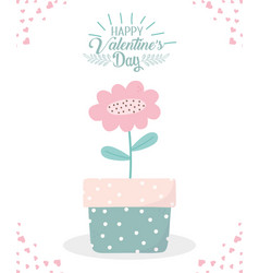 happy valentines day potted flower decoration vector image