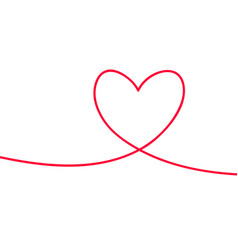 Heart in continuous drawing lines continuous vector
