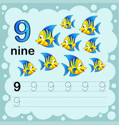 How to count and write a number nine fish vector