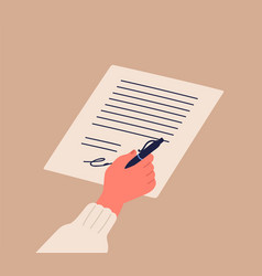 human hand signing notary document holding pen vector image