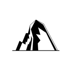 Icy mountain with ledges silhouette icon in flat vector