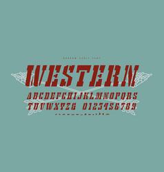 italic stencil-plate slab serif font vector image