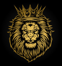 Lion head angry gold on black background vector