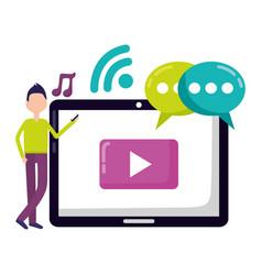 man tablet social media vector image