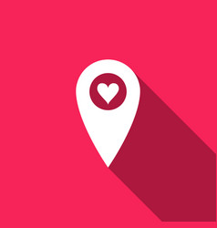 map pointer with heart icon isolated with long vector image