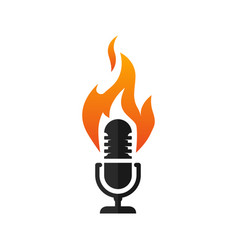 microphone with flames icon vector image