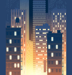Modern buildings at night urban background vector
