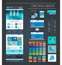 One page website flat UI UX design template vector