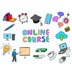 online course doodle art with paper background vector image