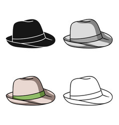 Panama hat icon in cartoon style isolated on white vector