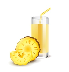 Pineapple juice isolated on white vector image