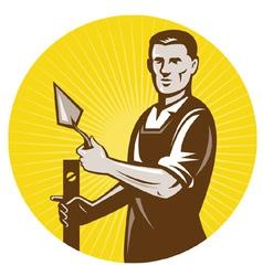 Plasterer worker with trowel working vector