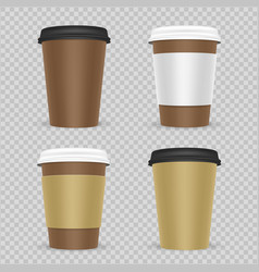 realistic paper coffee or tea cups set vector image