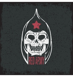 red army soldier skull grunge design template vector image