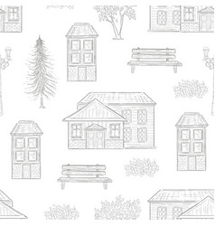 retro houses fir tree bench seamless pattern vector image