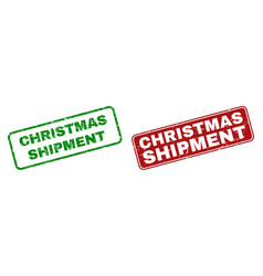 Scratched christmas shipment rubber stamps with vector