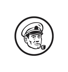 Sea Captain Smoke Pipe Circle Retro vector