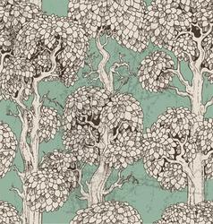 Seamless pattern dark enchanted old trees vector