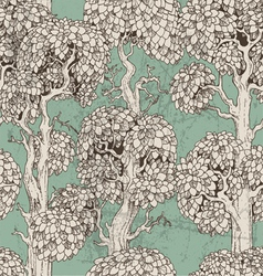 Seamless pattern of dark enchanted old trees vector image