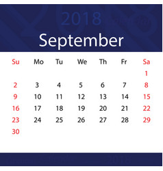 September 2018 calendar popular blue premium vector