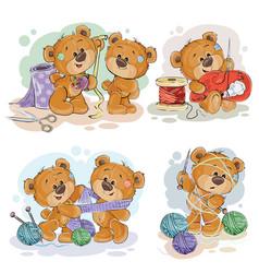 Set clip art teddy vector