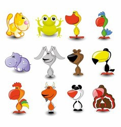 Set of 16 Cute Cartoon Animals vector