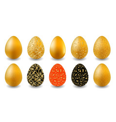 set of easter eggs gold black and red easter vector image