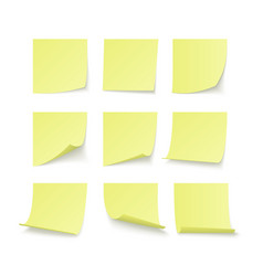 set yellow stuck stickers with space for text vector image