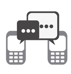 Silhouette set tech cellphone and dialog box icon vector