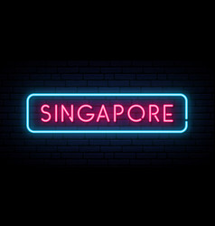 Singapore neon sign bright light signboard vector