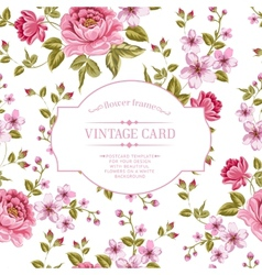 Spring flowers bouquet for vintage card vector