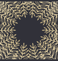 square frame of golden tropical leaves vector image