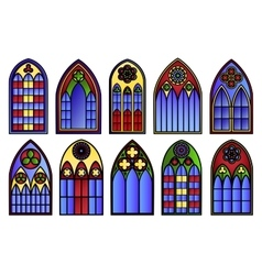Stained glass windows set vector