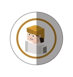 Sticker with portrait lego man worker with helmet vector