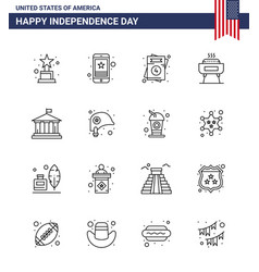 Stock icon pack american 16 line signs vector