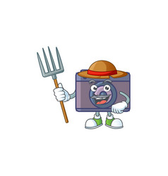 Sweet farmer retro camera with hat and tools vector