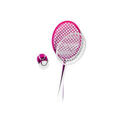Tennis racquet with ball sign detachable vector