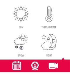 Thermometer sun and snow icons vector