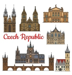 Travel landmarks and monuments of Czech Republic vector