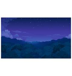 Trees among night sky vector