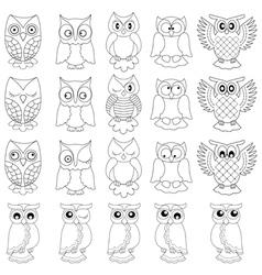 Twenty funny owls black outlines vector
