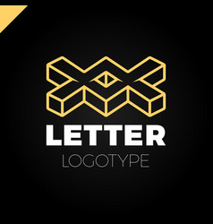 Two or double isometric letter x logo icon design vector