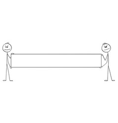 Two persons holding big empty sign or banner vector