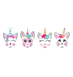 Unicorn cat bunny faces vector