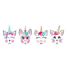 unicorn cat bunny faces vector image