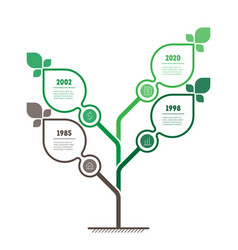 Vertical green infographics or timeline with 4 vector