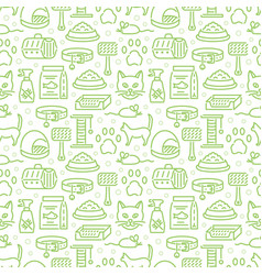 veterinary pets accessories outline icons seamless vector image
