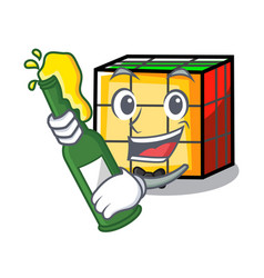 With beer rubik cube mascot cartoon vector