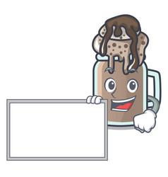 With board milkshake character cartoon style vector